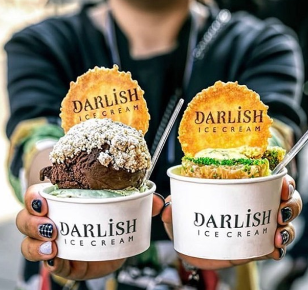 Darlish Ice Cream, served in two cups
